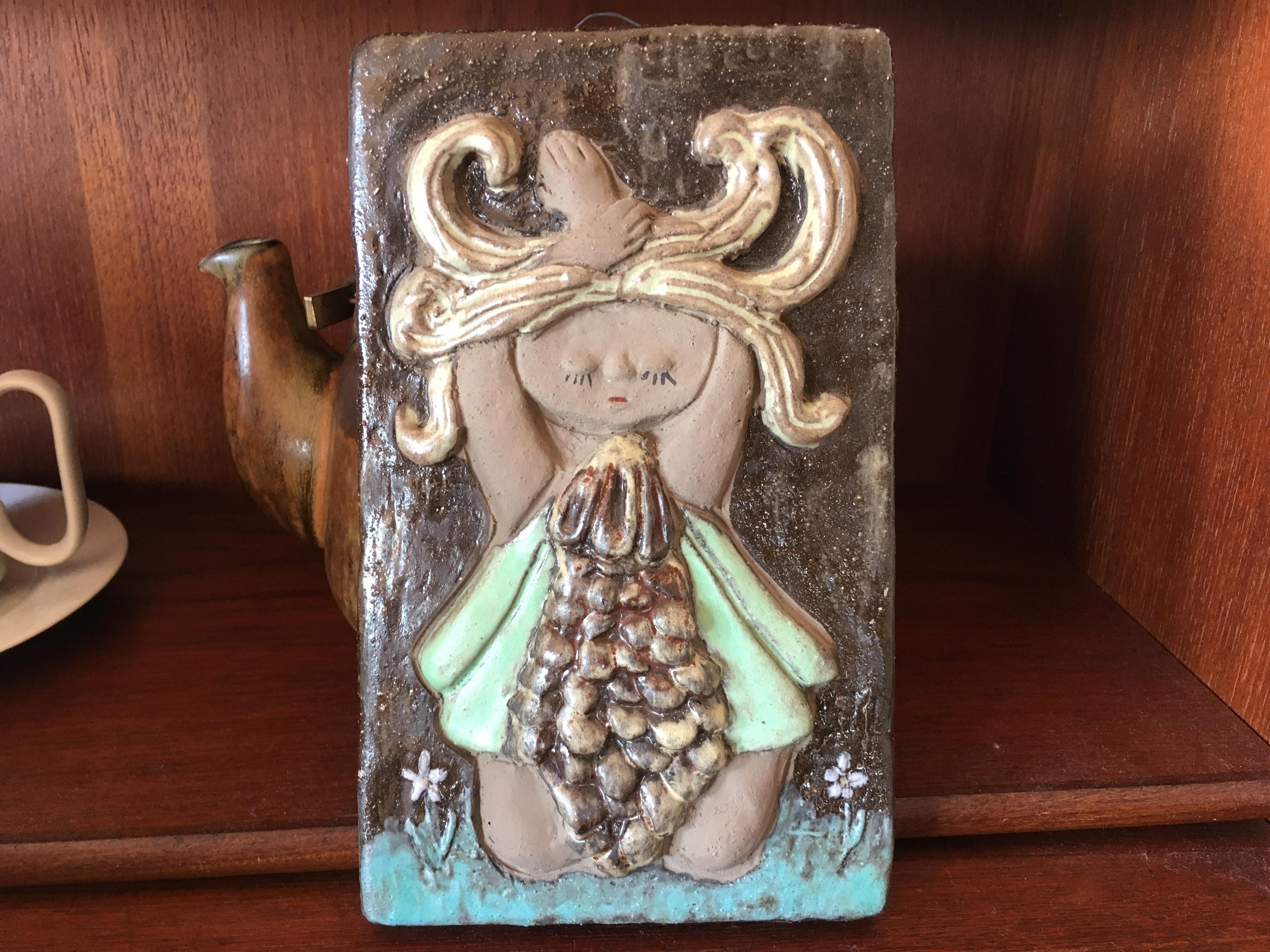 女のコの陶板 SOLD