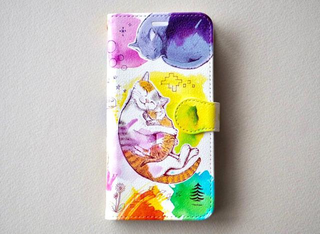 送料無料■夢見る猫の手帳型スマホケース《受注生産:iPhone,Android対応》