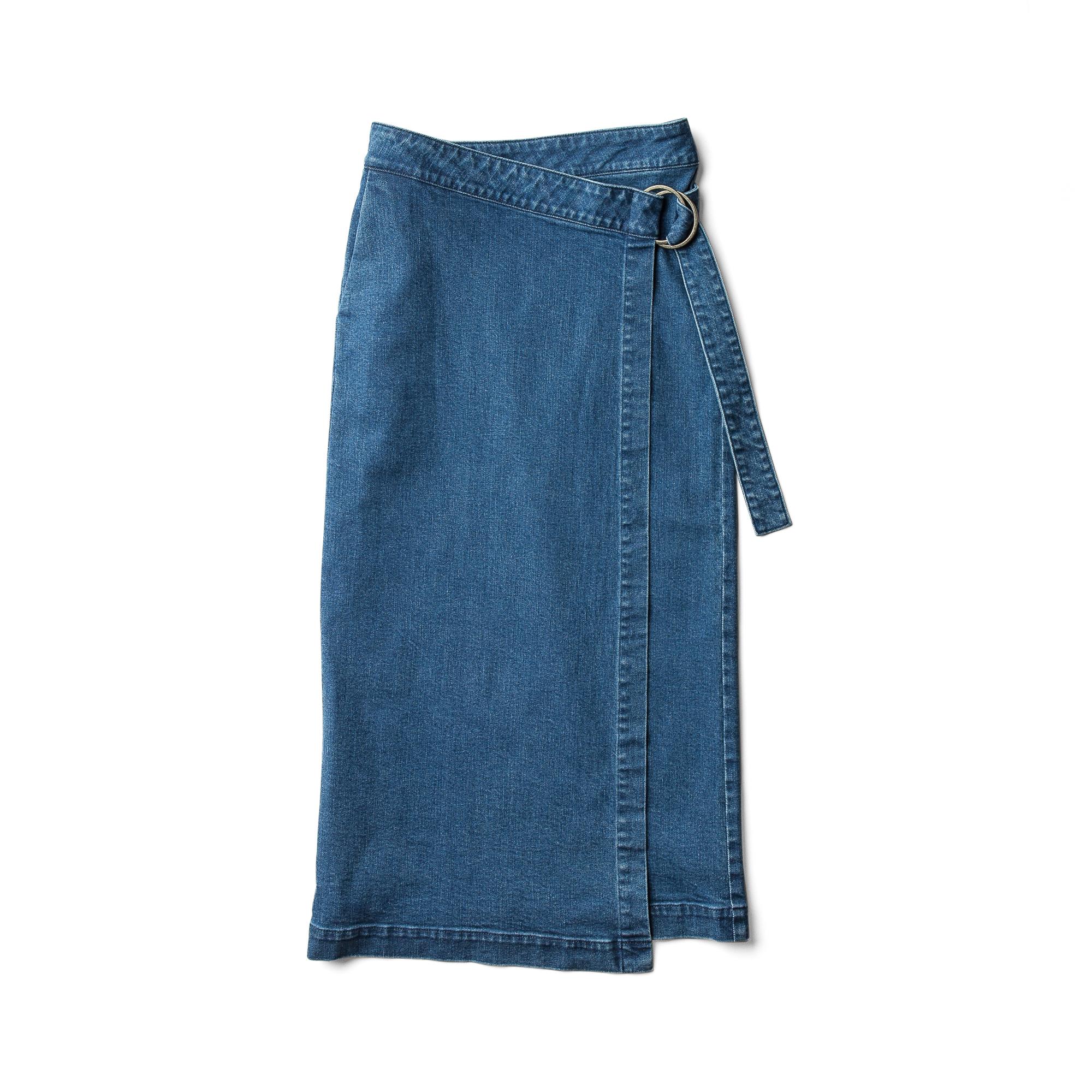 巻きロングスカート コバルト