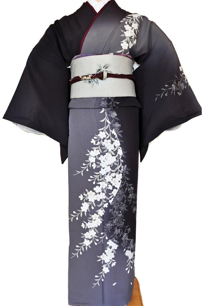 訪問着レンタル■紺色と灰色の片身違いに流れるような桜の花柄■正絹フリーサイズhu7〔往復送料無料〕 - 画像2