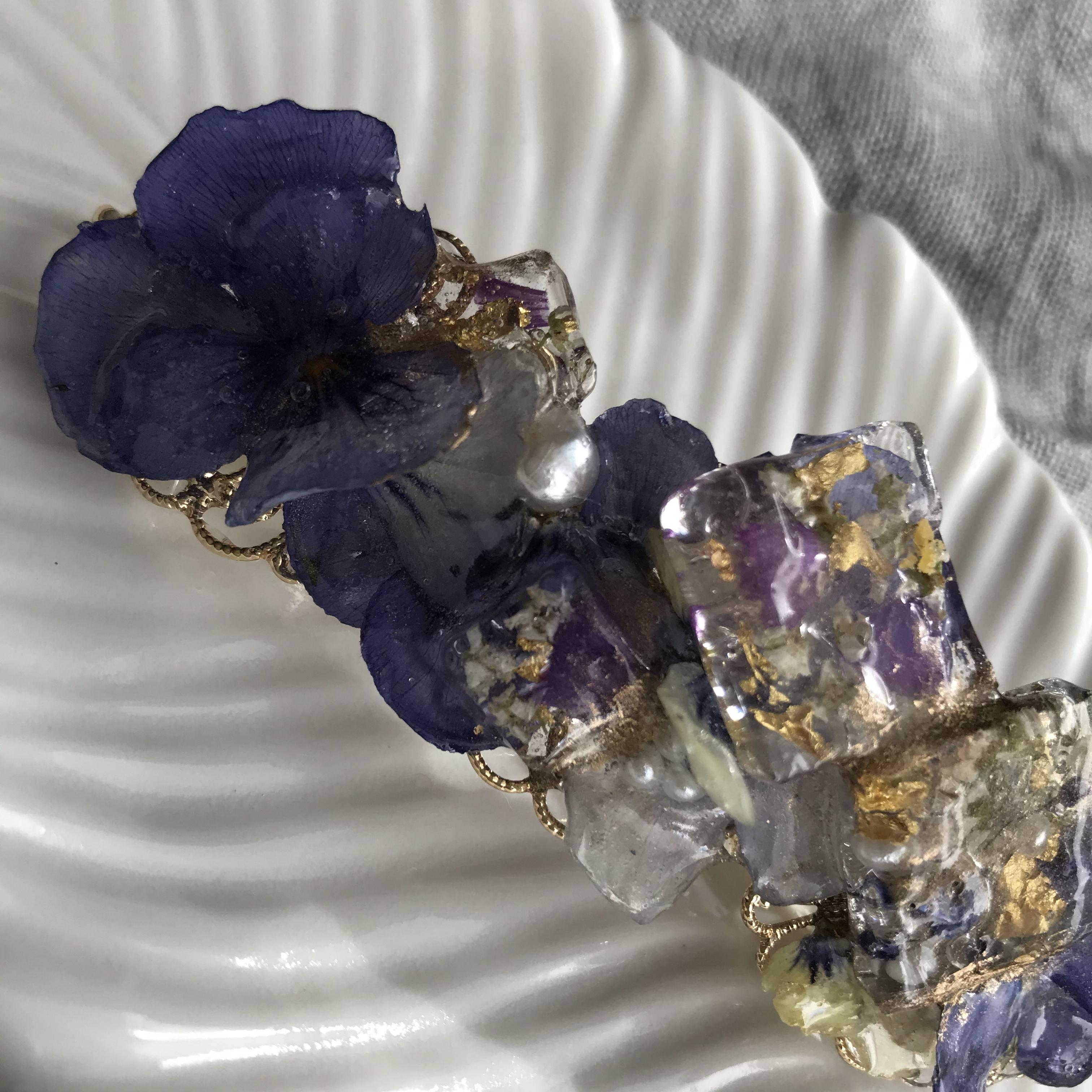本物のお花の透明感❗️ビオラバレッタ*マスクアクセサリー兼用