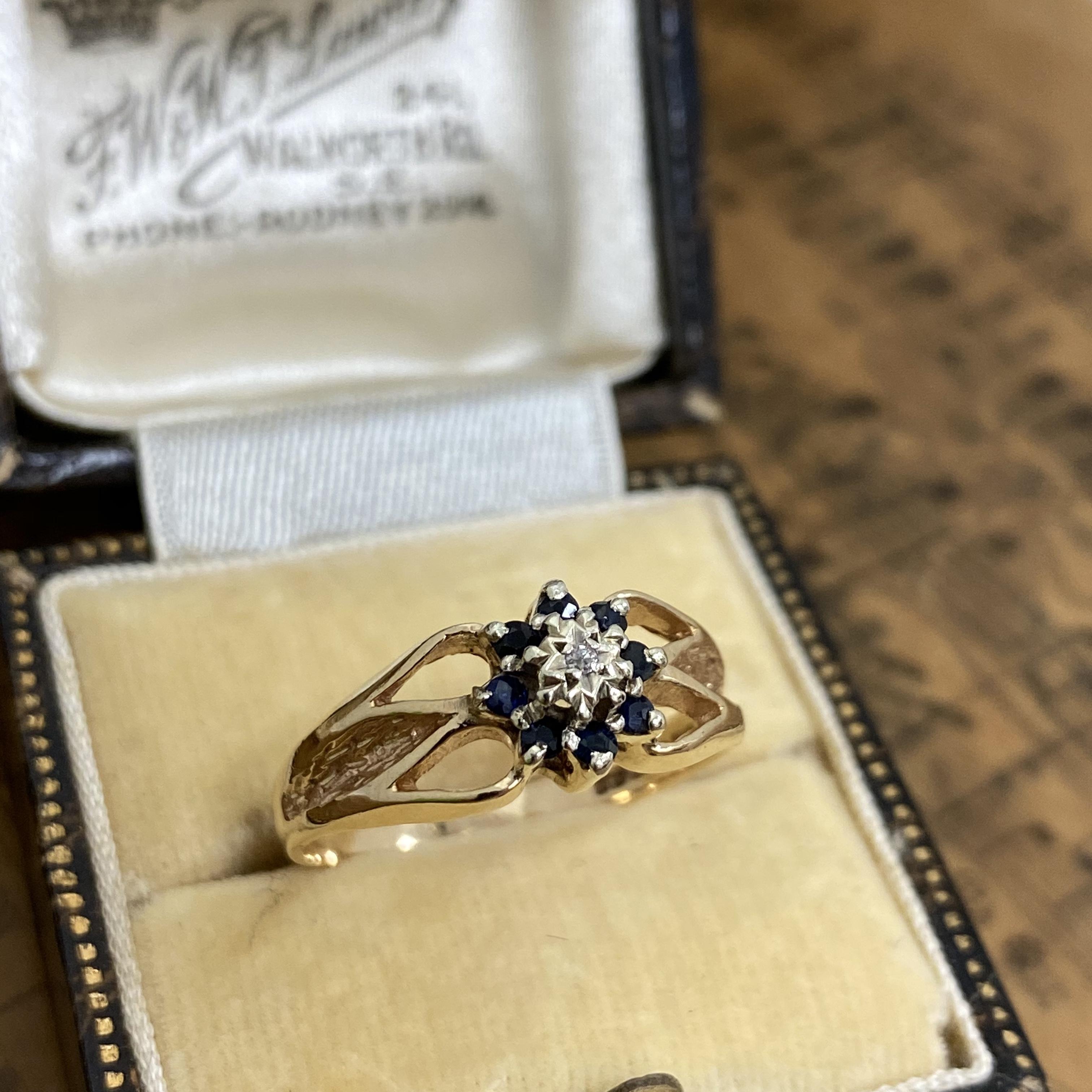 イギリス ヴィンテージリング 1950年代 サファイア ダイヤモンド