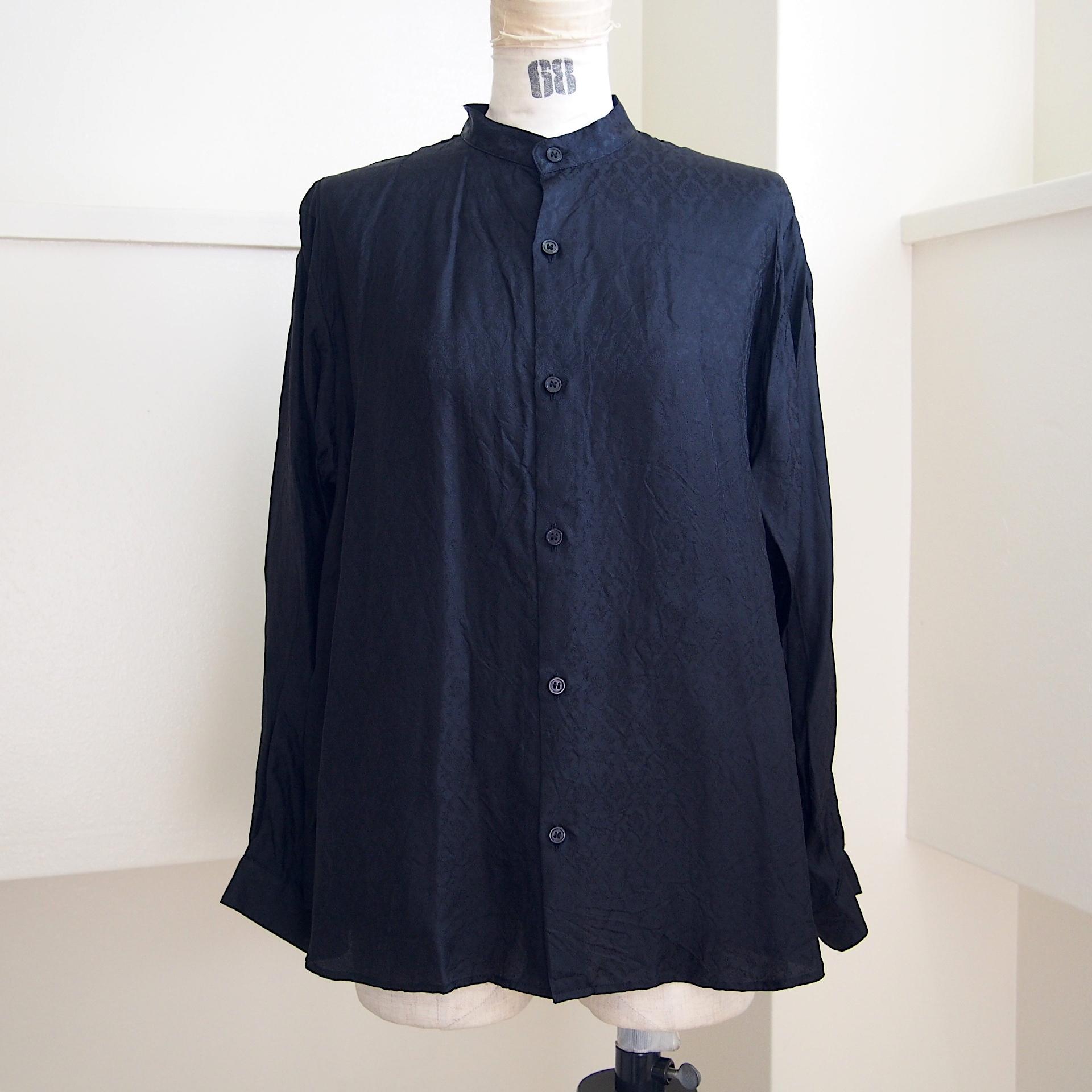 【hippiness】cupro A line shirt (Jacquard10black)/【ヒッピネス】キュプラ Aライン シャツ(ジャガード10ブラック)