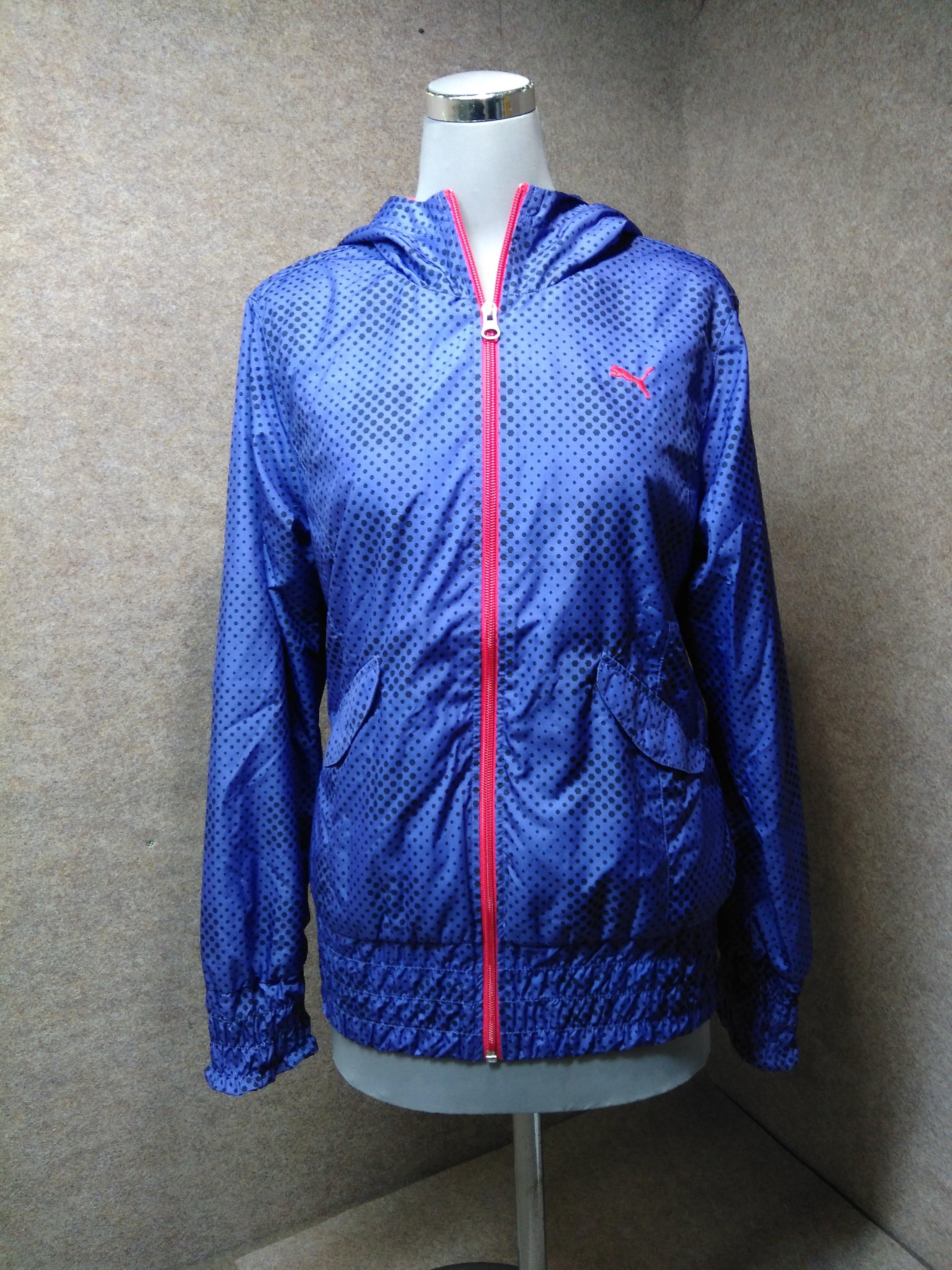 【PUMA/プーマ】 レディース デザインジャケット ウエンドブレーカー 内ボア 青紫系 フード付き hs6【送料無料】古着