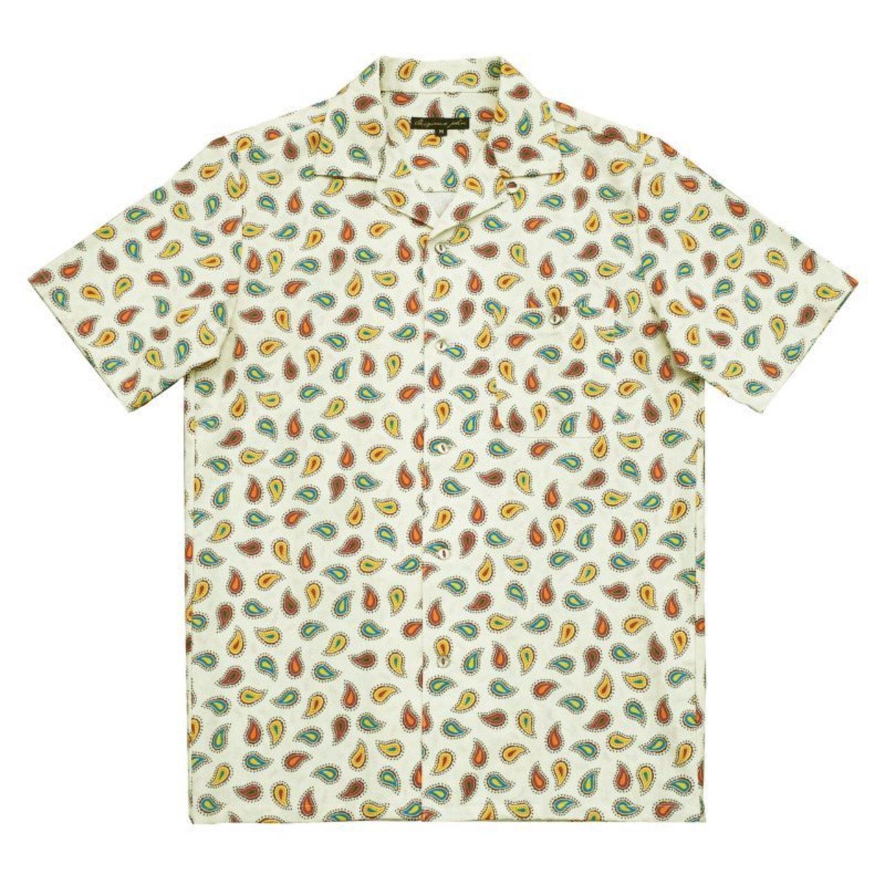 【Original John】 半袖オープンカラーシャツ ペイズリー 〈Ivory〉