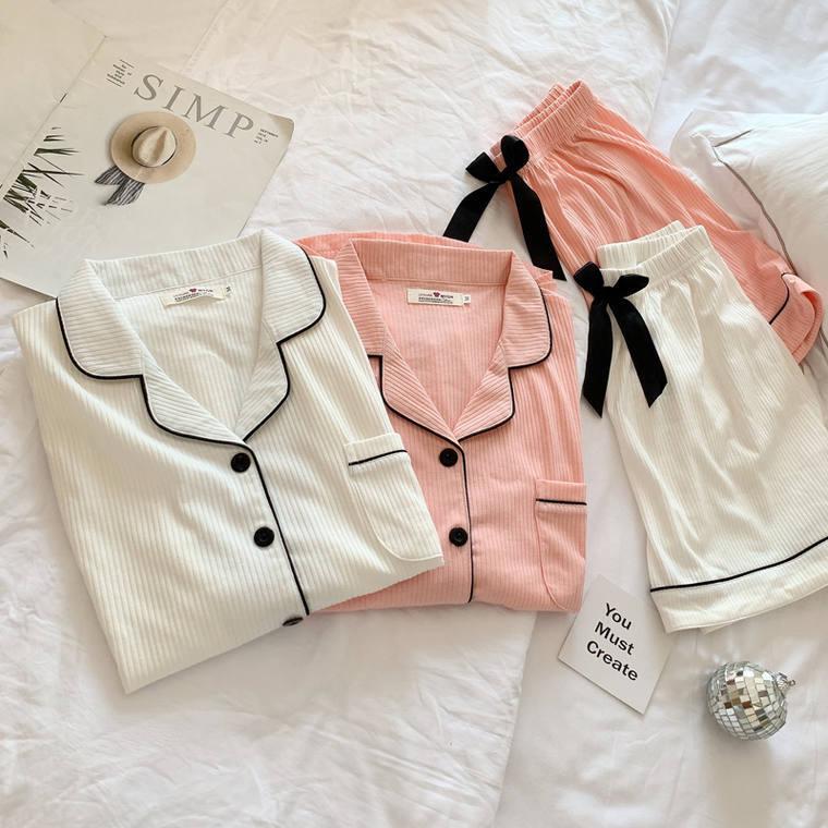 【送料無料】 お家時間も大人可愛く♡ 上下 パジャマ ルームウェア 2点セット 半袖 ショートパンツ ウエストリボン