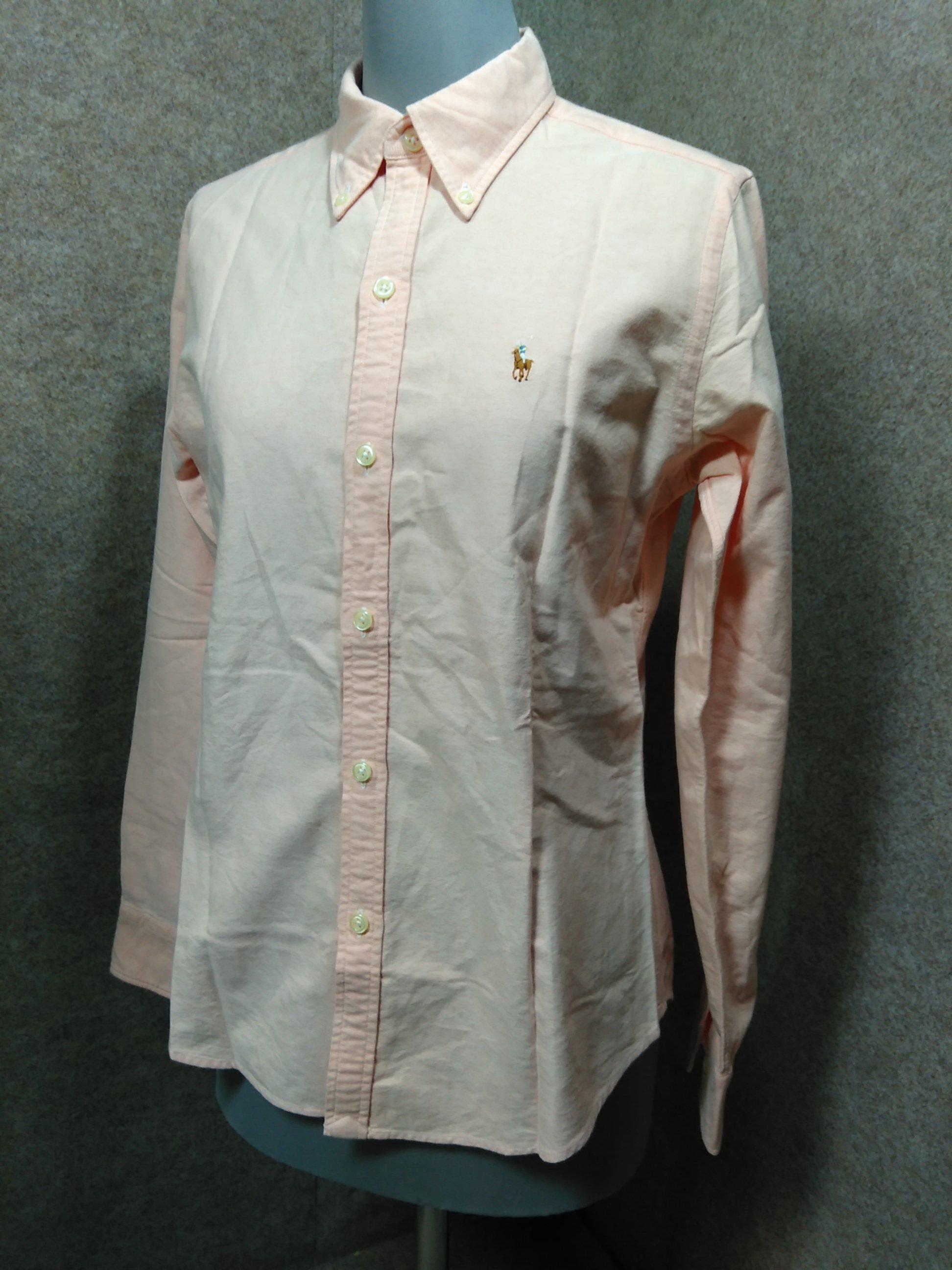 ラルフローレン 長袖 ボタンダウンシャツ 7号 サーモンピンク mu755e