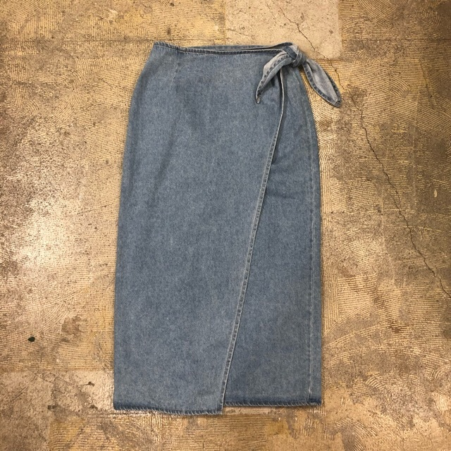 Vintage Blue Wrap Denim Skirt ¥4,500+tax
