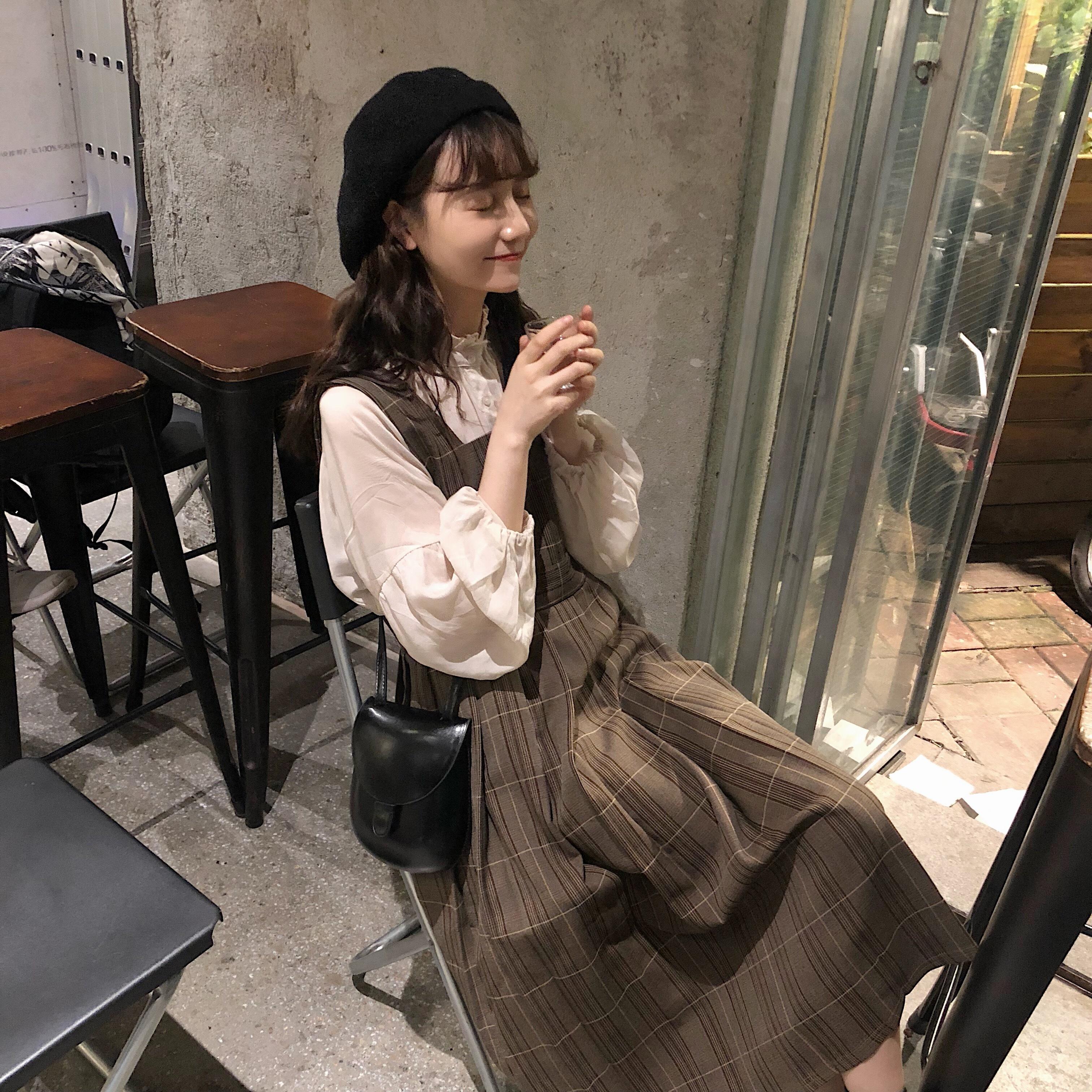 【送料無料】ガーリーコーデに♡ ジャンパースカート&シフォンブラウス 2点セット
