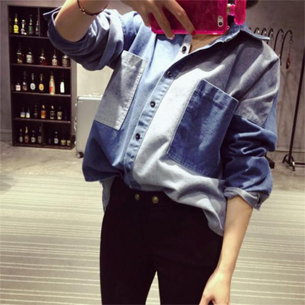 パッチワーク デニムシャツ 2カラー ts4008