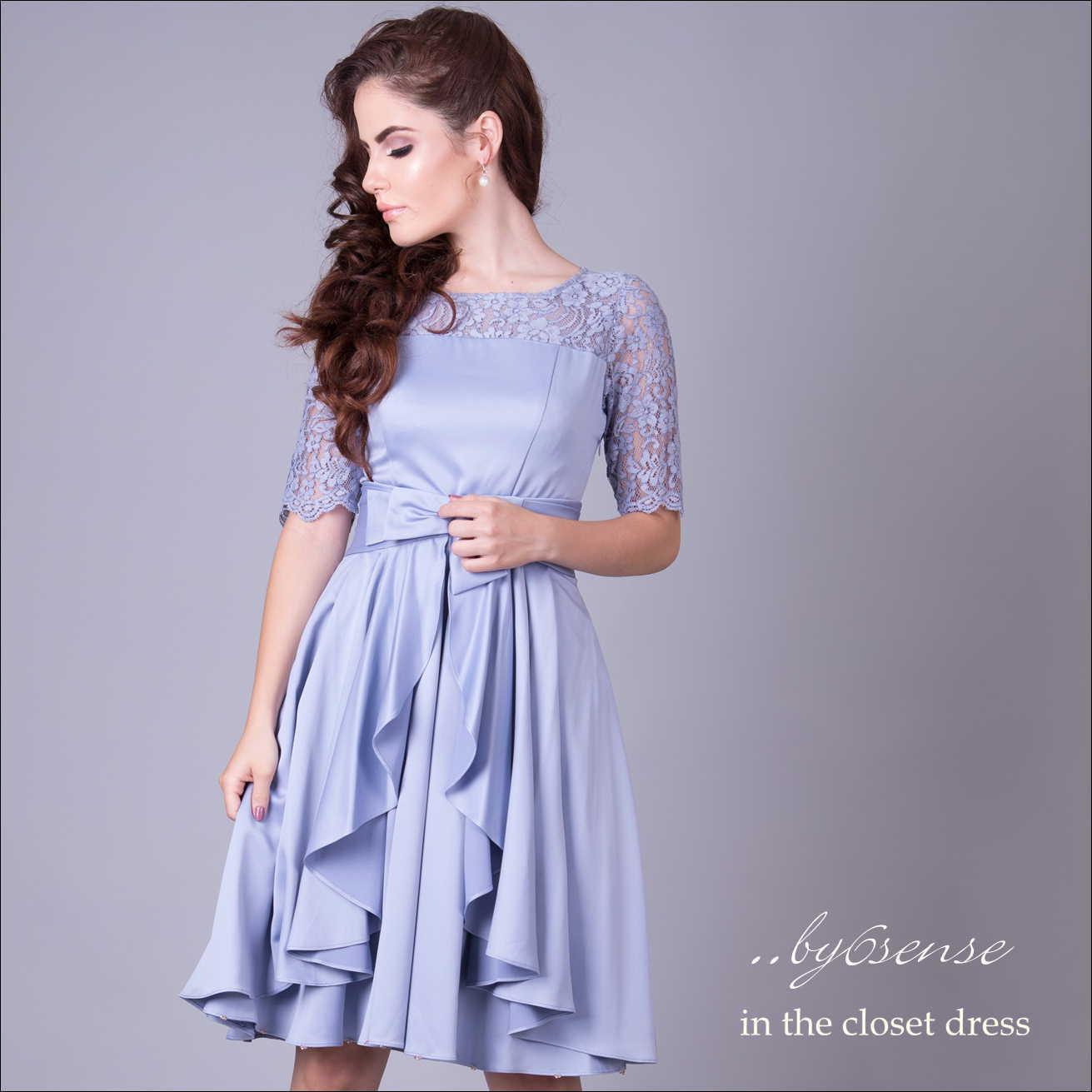 デコルテレース・フィットフレア オーバースカート付き2wayドレス Dorry Doll(ドリードールドレス) ライトブルー