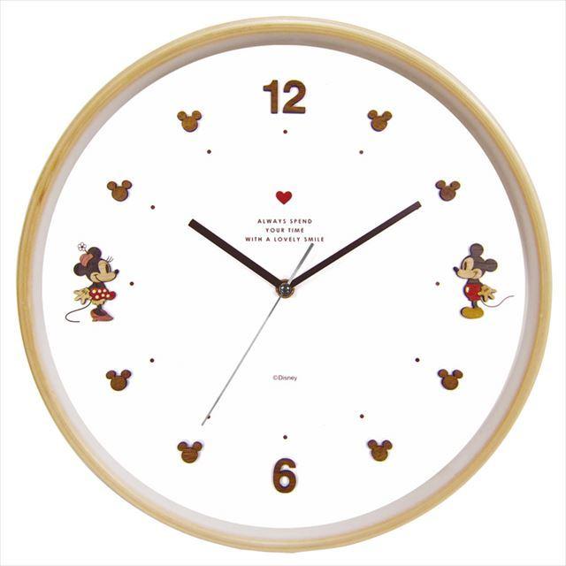 掛け時計 スイープムーブ ディズニー ウッドパーツクロック  ミッキー&ミニー APJ - 画像1