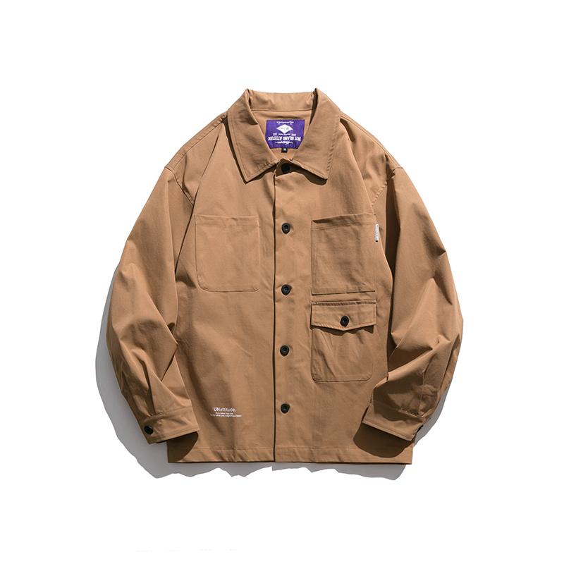 【UNISEX】アウトドア マルチポケット バックプリント シャツ ジャケット【2colors】