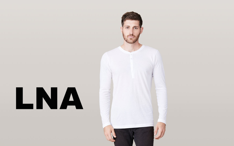 LNA/エルエヌエー ロングスリーブボタンヘンリーシャツ/ホワイト