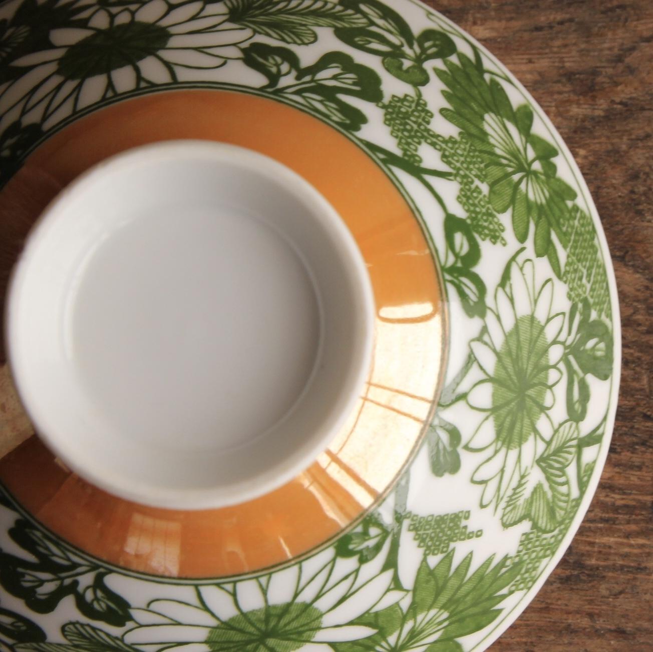 昭和レトロ 緑の花柄 茶碗 在庫1客