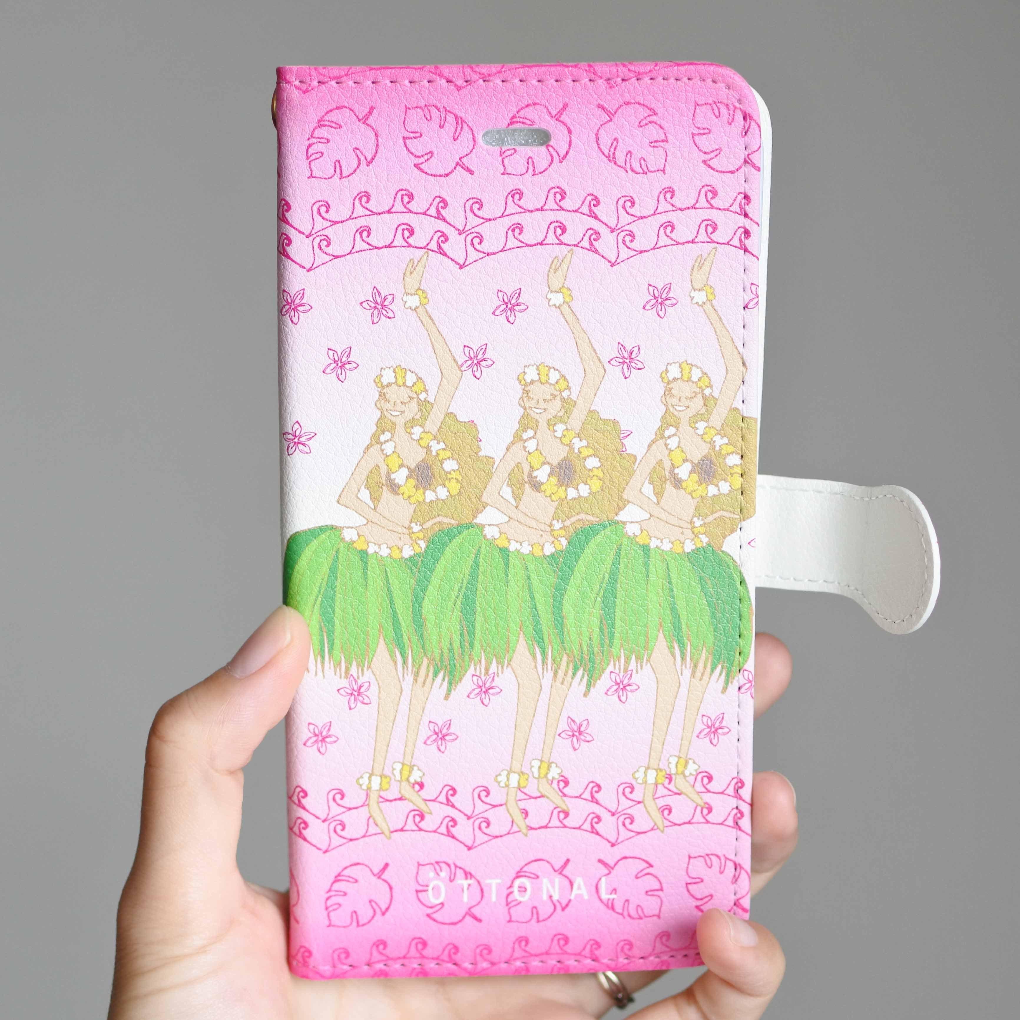 (iPhone)フラガールピンク 手帳型スマホケース - 画像1