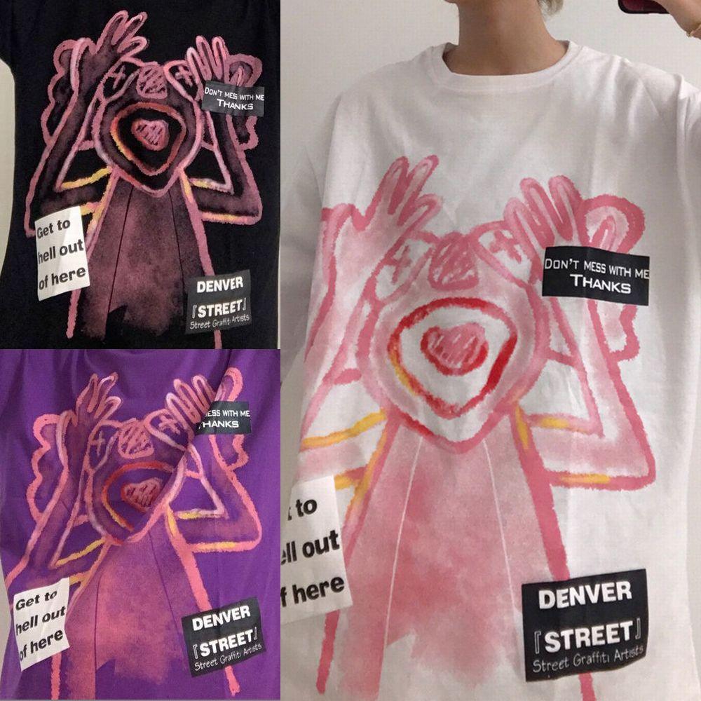 ユニセックス Tシャツ 半袖 メンズ レディース ラウンドネック 落書き風 グラフィティプリント オーバーサイズ 大きいサイズ ルーズ ストリート