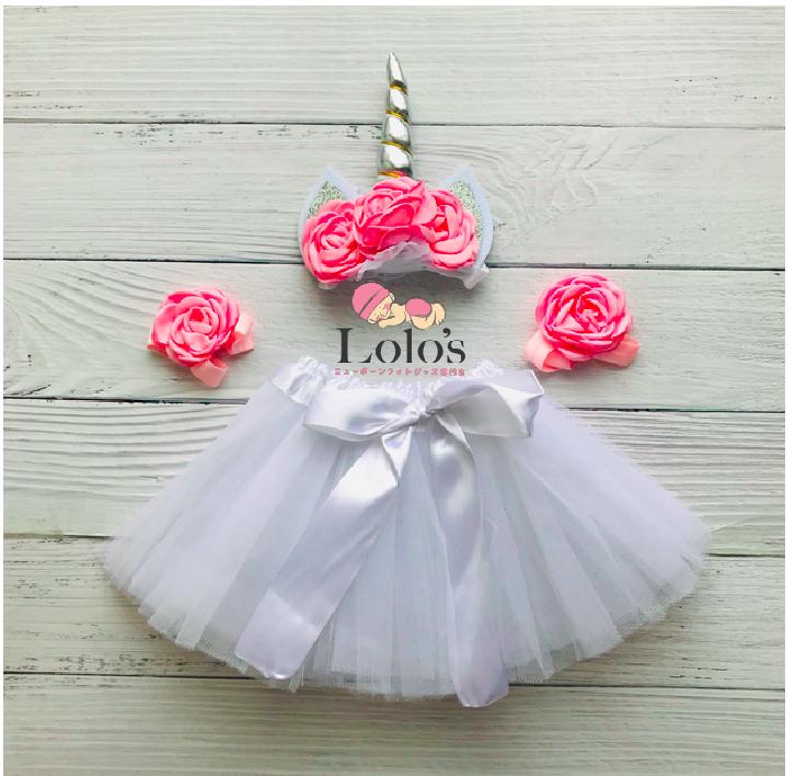 夢のユニコーン♡0-2ヶ月赤ちゃん用衣装3点セット/White