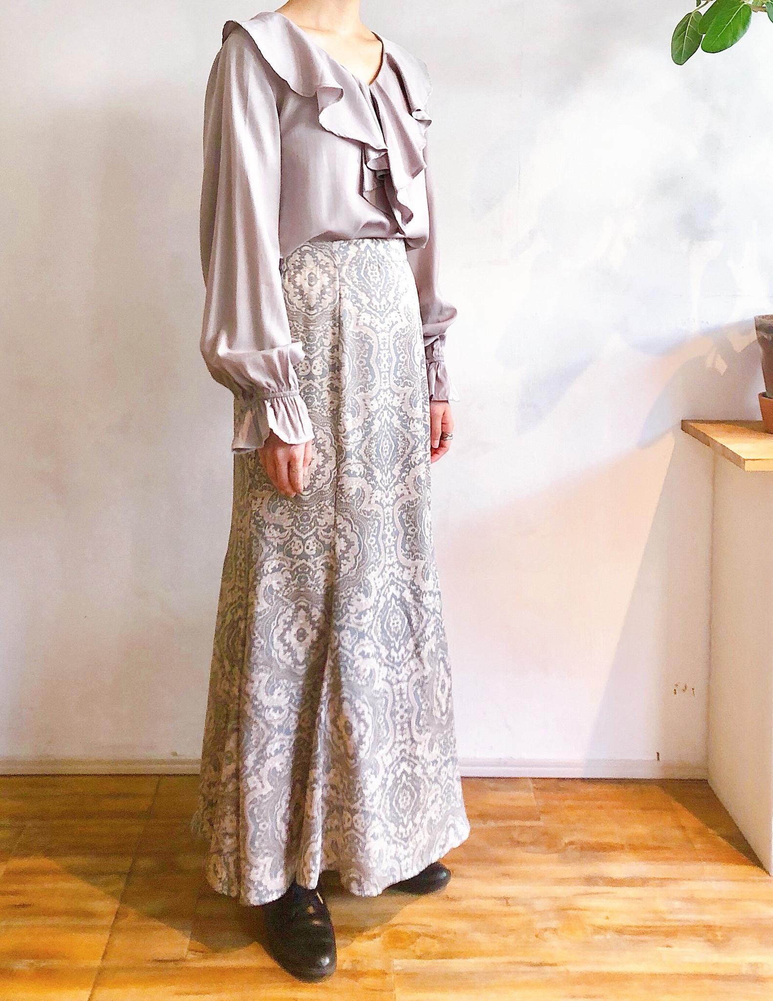 オリエンタルプリントのマーメイドスカート