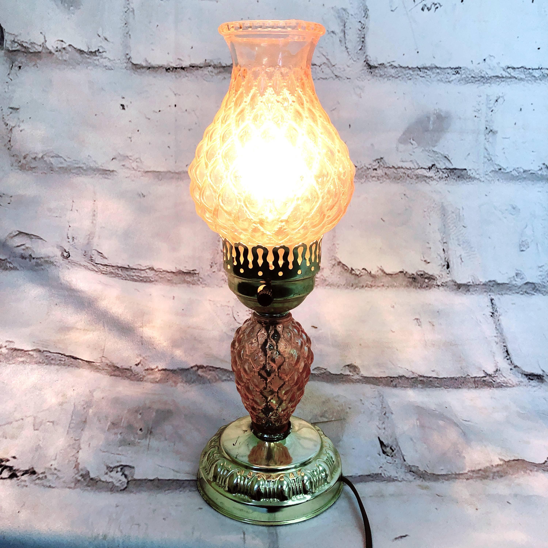 品番4530 スタンドライト テーブルランプ ピンク カットガラス 切子 照明 インテリア レトロ アンティーク