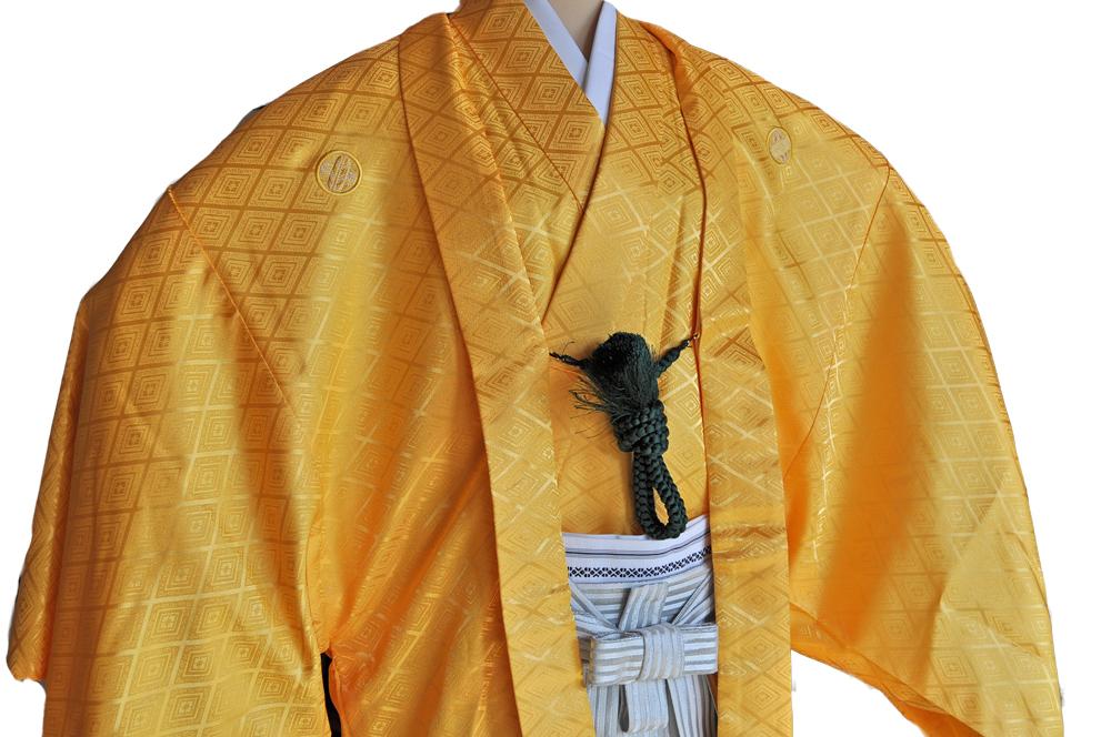 レンタル男性用【紋付袴】黄色着物羽織と白銀ぼかしの袴フルセットyellow1[往復送料無料] - 画像3