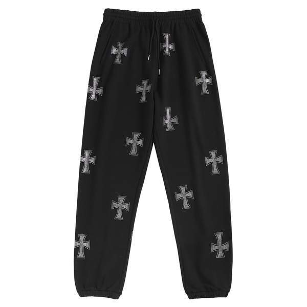 UNKNOWN Cross Rhinestone Jogger Pants BLACK