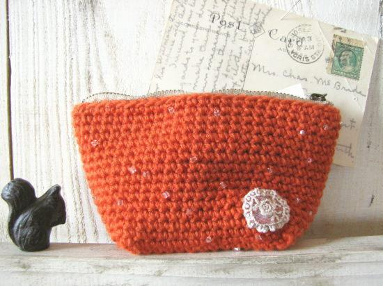 手編みのポーチ 小*オレンジ ビーズ/sakura 型番:P-4