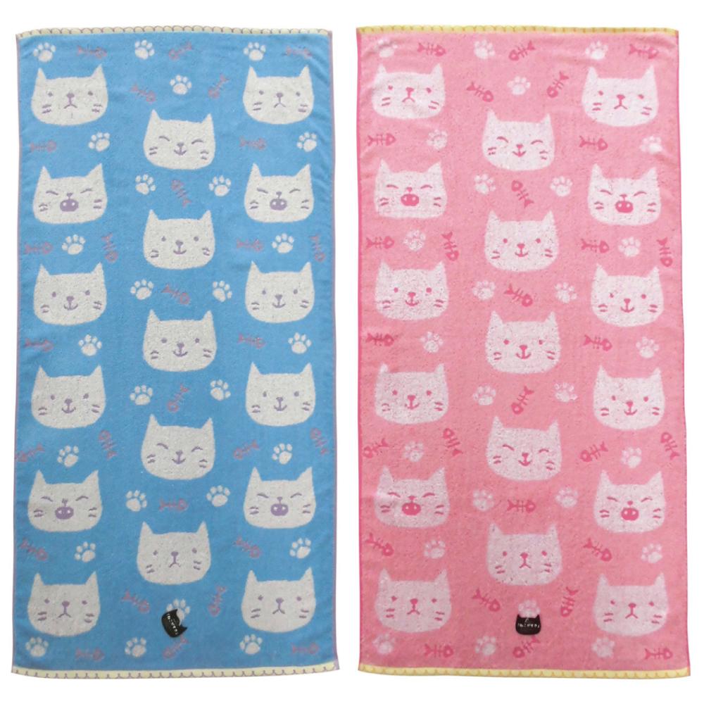 猫バスタオル(ねこがすきパステル)全2種類
