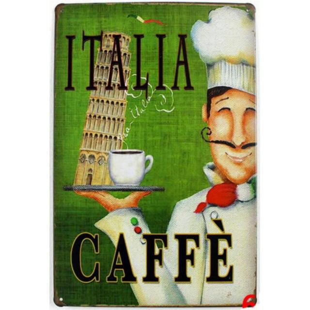 【ブリキ看板】コーヒー イタリア・ミサの斜塔 小型版[C62126]