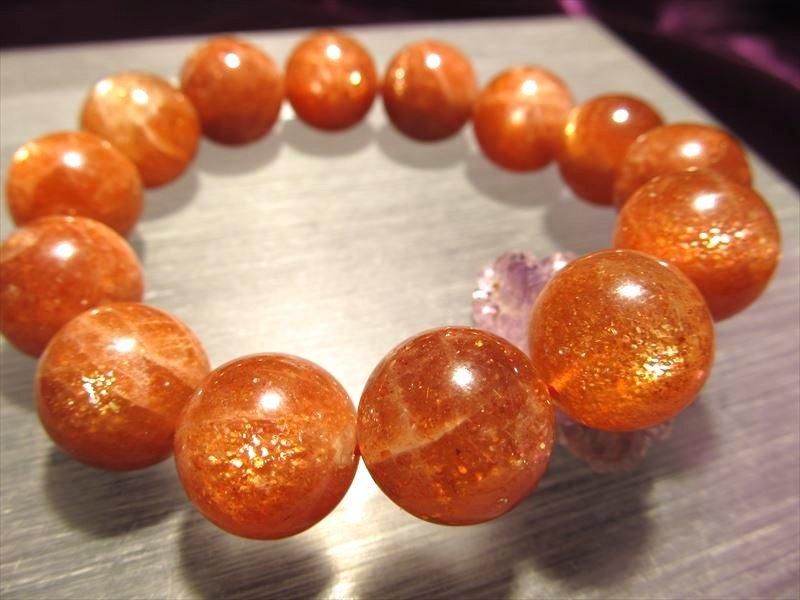 透明キラキラタイプ◆濃厚オレンジ&美シラーも◆サンストーンブレスレット【日長石】◆7mm
