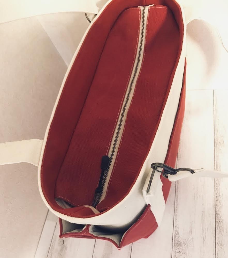 【車椅子対応】8号キャンバス バイカラーの4つポケットトート