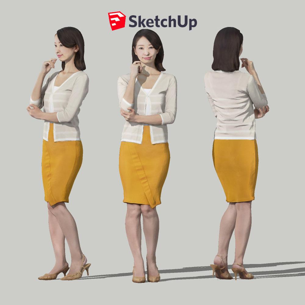 SketchUp素材 3D人物モデル ( Posed ) 097_Aya - 画像1