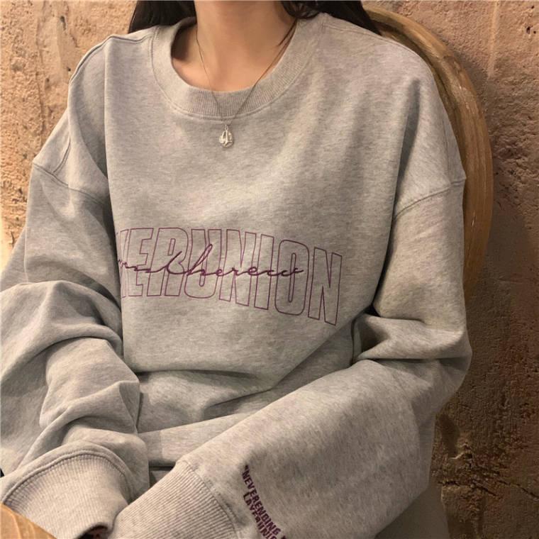 【送料無料】カジュアルコーデに ♡ メンズライク 袖プリ 刺繍 プリント ロゴ プルオーバー トップス