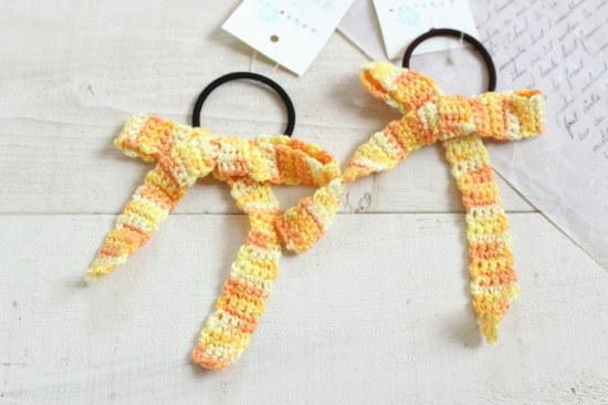 リボンヘアゴム*手編み イエローミックス/sakura 型番:H-33