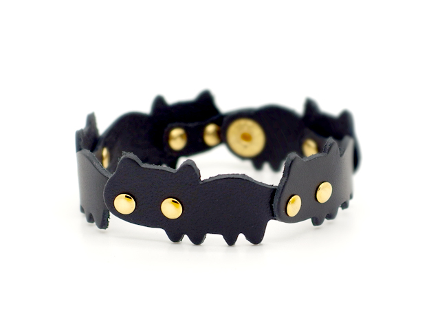 猫連合ブレスレット|黒ネコ(牛革製)