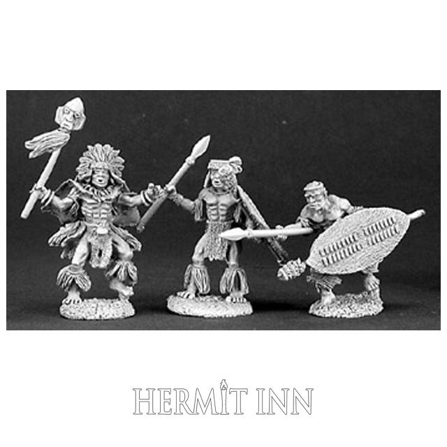 人食い部族の祈祷師と衛兵たち(3体) - 画像1