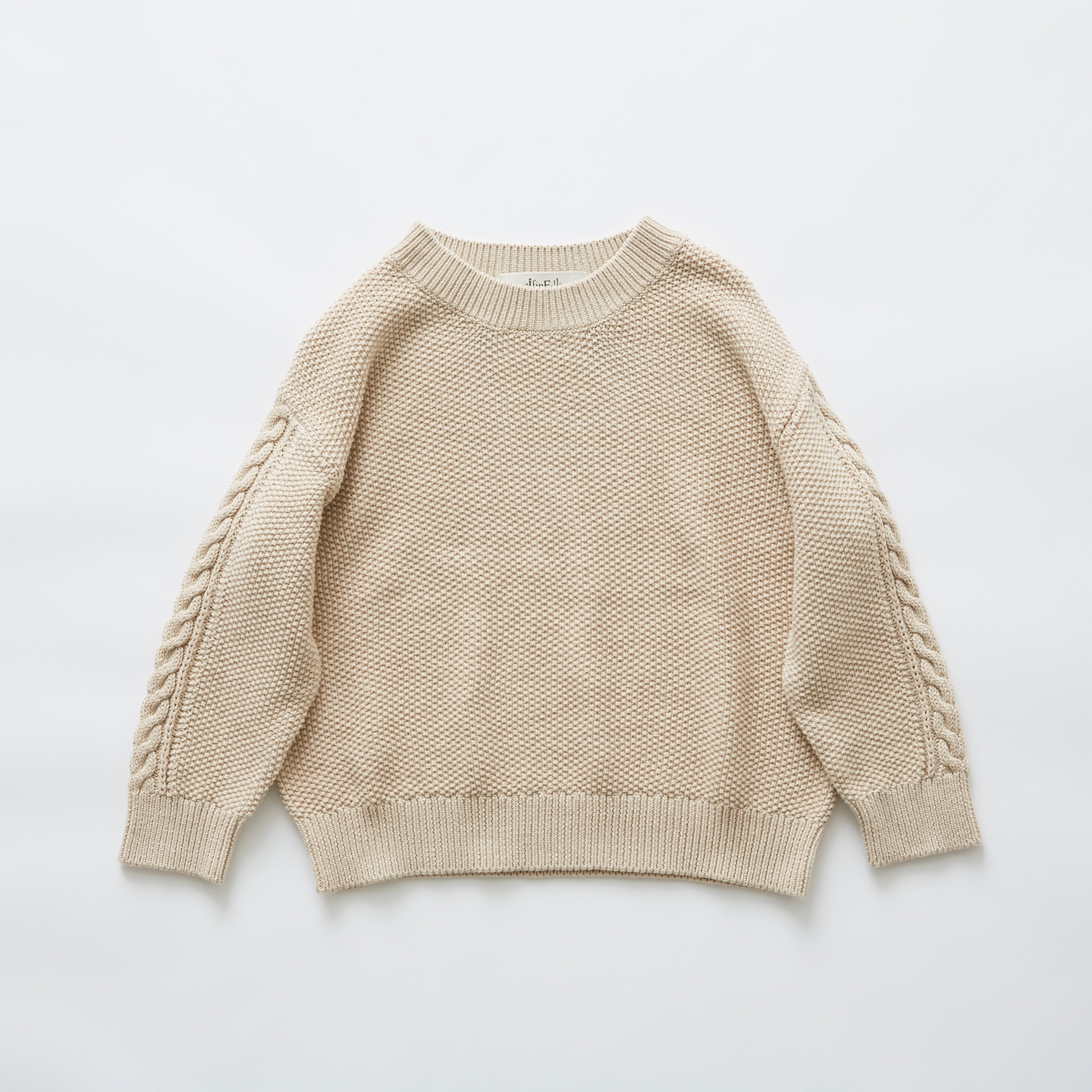《eLfinFolk》moss stitch sweater / ivory / 110・130cm
