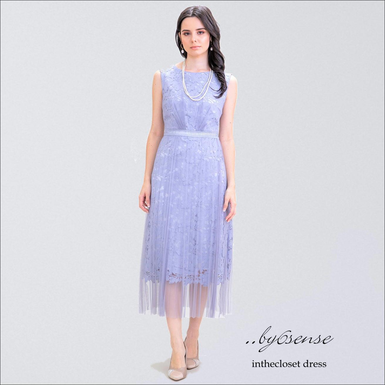 チュールプリーツレース/ノースリーブドレス(ライトブルー)  結婚式・パーティードレス ..by6senseドレス