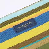 【LES TOILES DU SOLEIL】 ソレイユポーチワイド(プチ カプリ ブラン ターコイズ/PETIT CAPRI Blanc Turquoise )