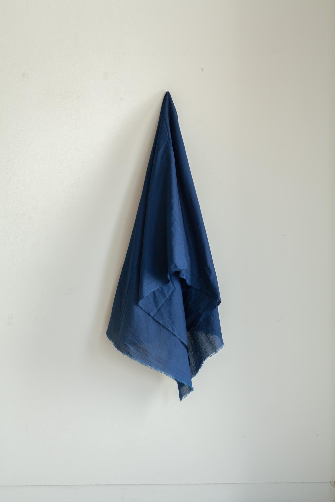 0142-1 80 linen stole 天然染 / 藍