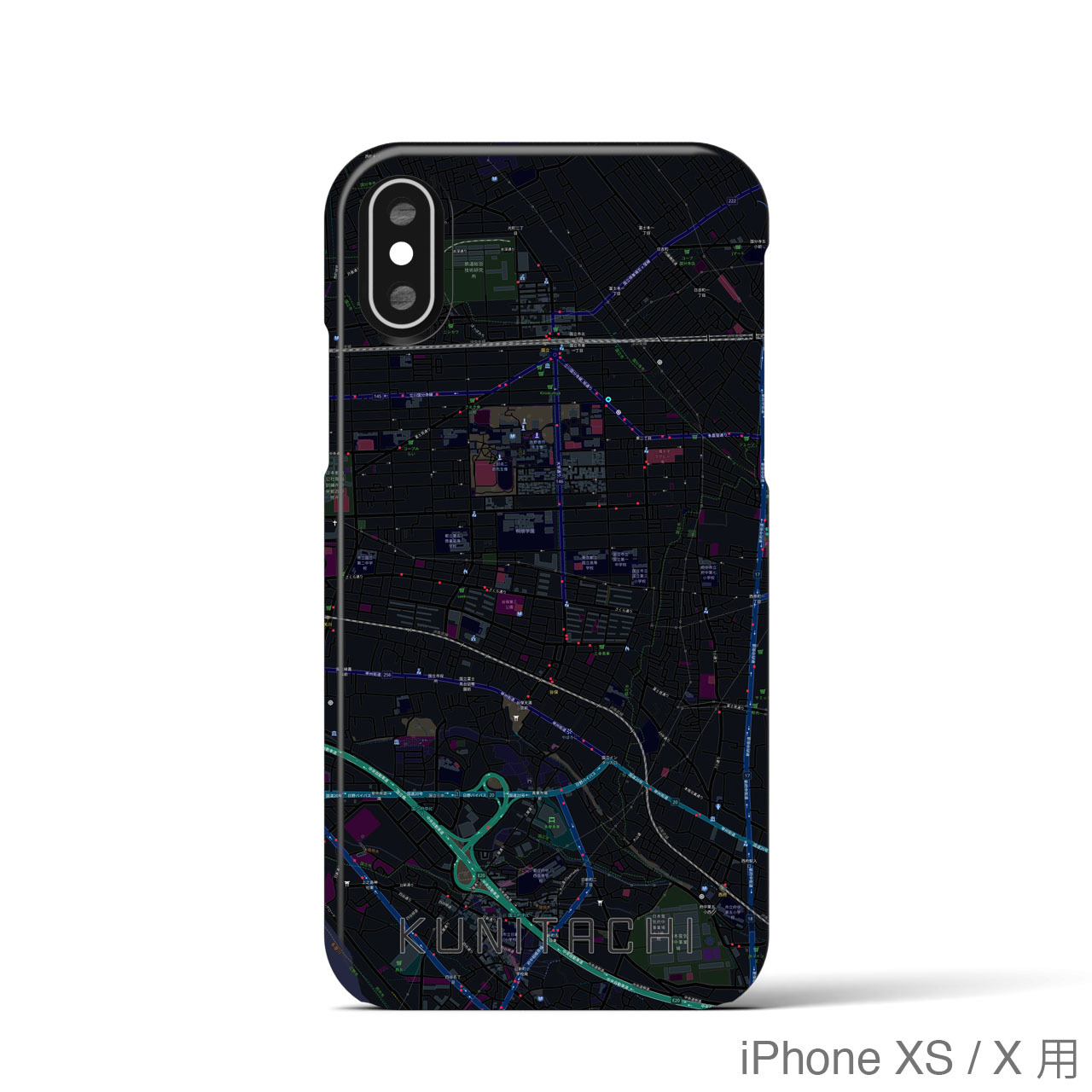 【国立】地図柄iPhoneケース(バックカバータイプ・ブラック)