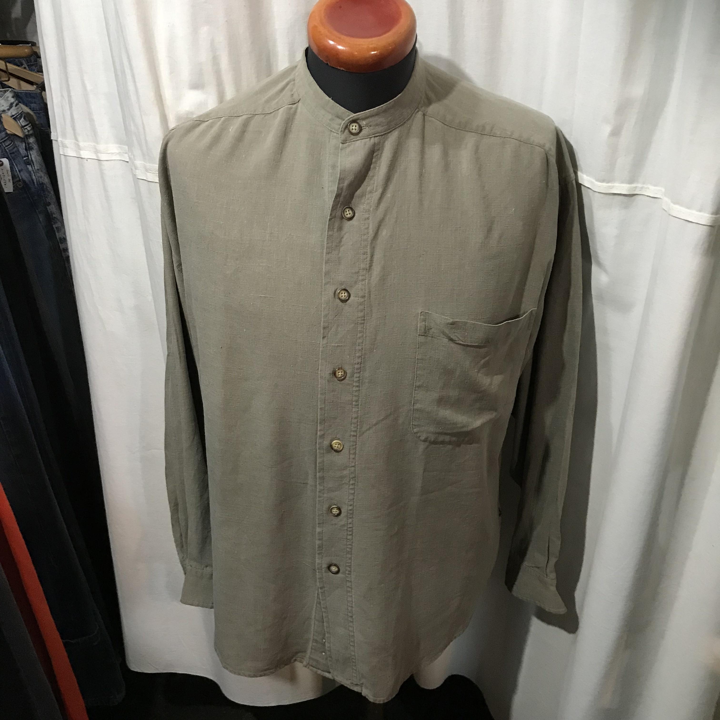 STRUCTURE ノーカラーシルクシャツ メンズXL