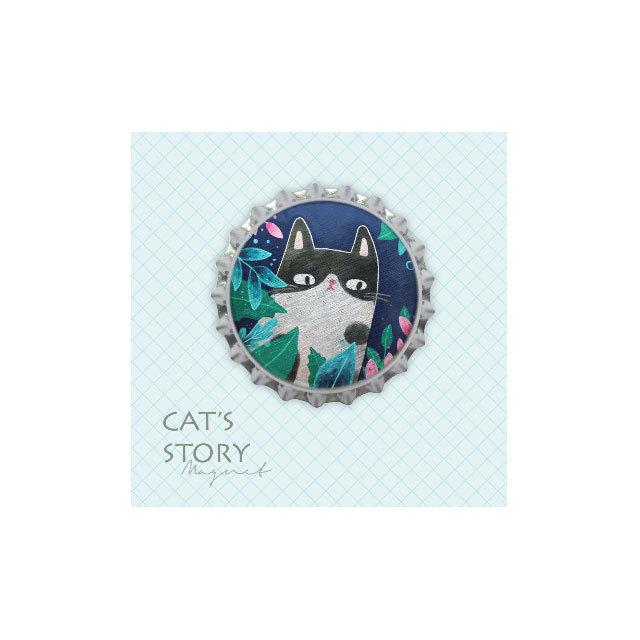 猫 王冠型マグネット(祝福三毛)