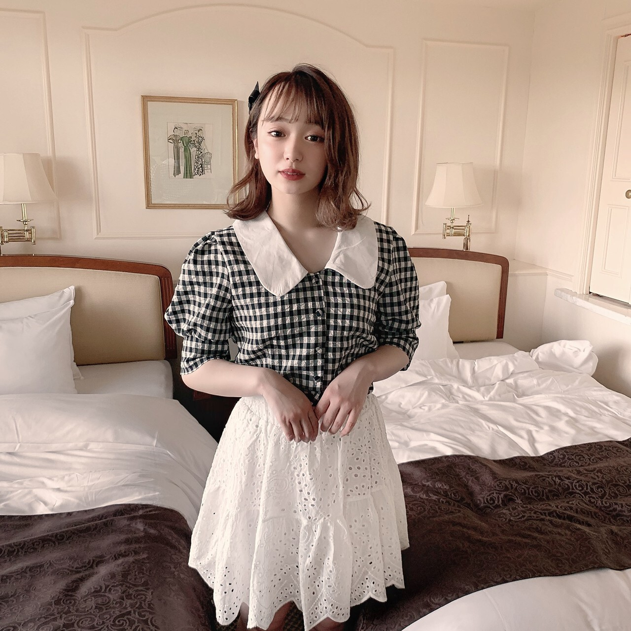 【meltie】gingham puff blouse