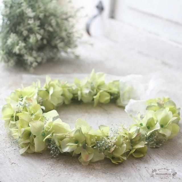 【花冠】アジサイとかすみ草の花冠