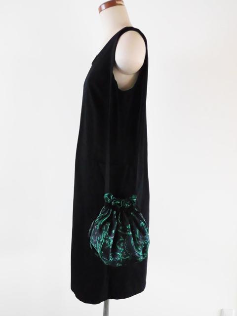 manokoko キンチャクショルダーバッグ 【黒×グリーン ペイズリー】 ハンドメイド