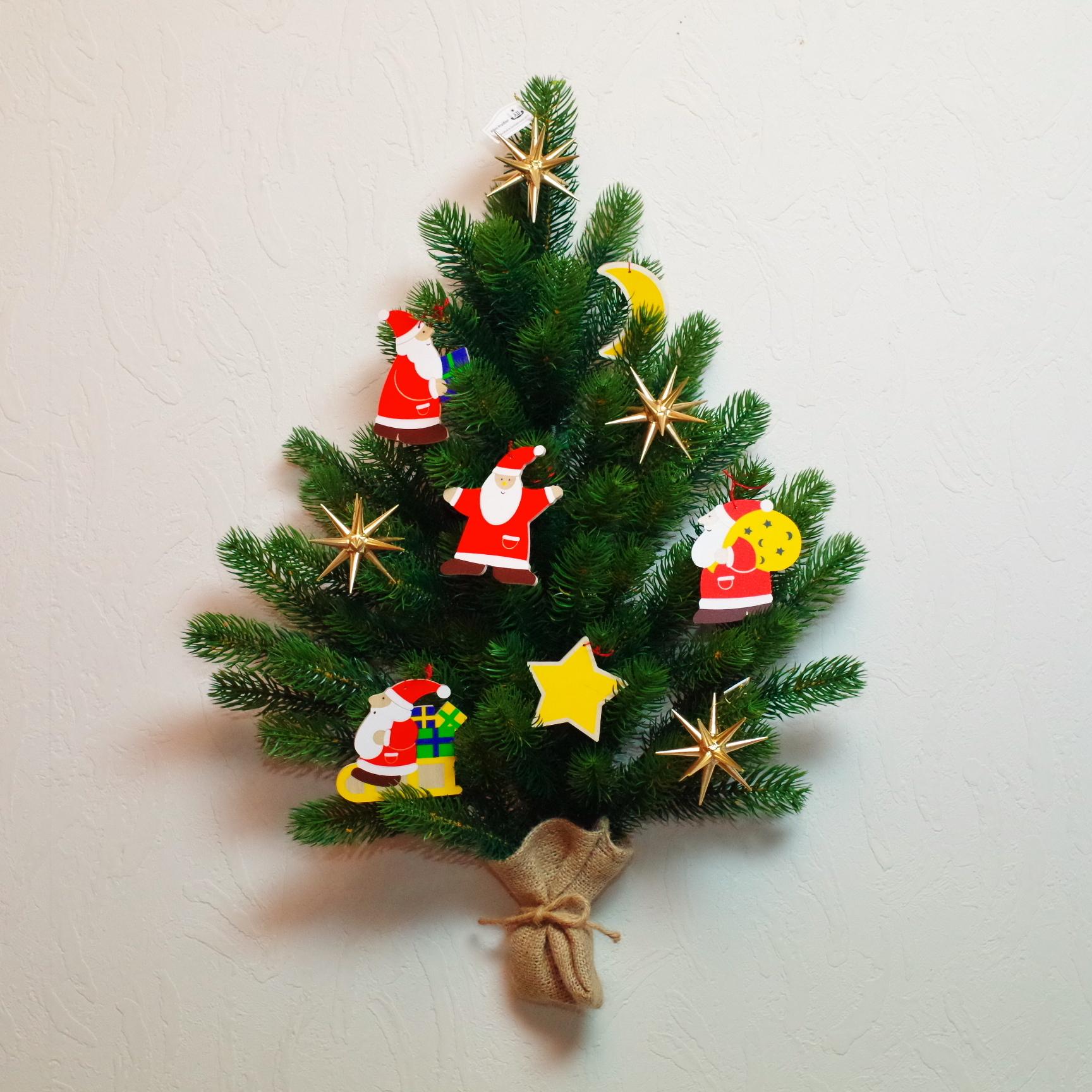壁掛けツリー サンタと星のオーナメント10ケセット