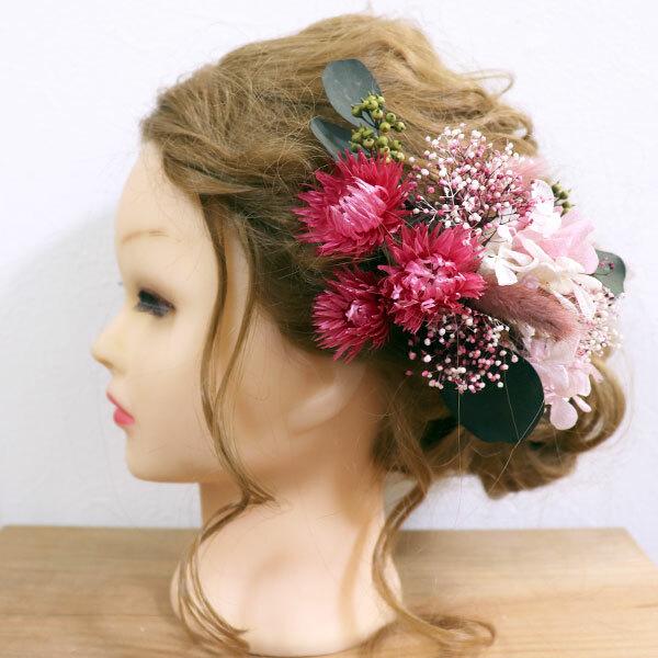 【プリザ・ドライ】ベリーピンクのお花のヘッドドレス