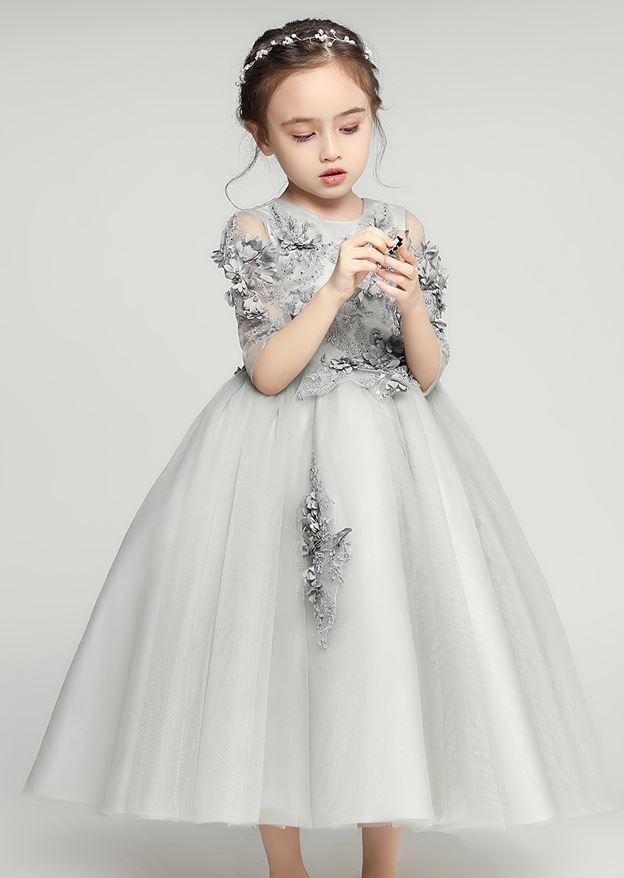 a930d6cf58935 子供ドレス☆ 花柄 ロング レース ふんわり プリンセス お姫様 上品 きれいめ エレガント お呼ばれ