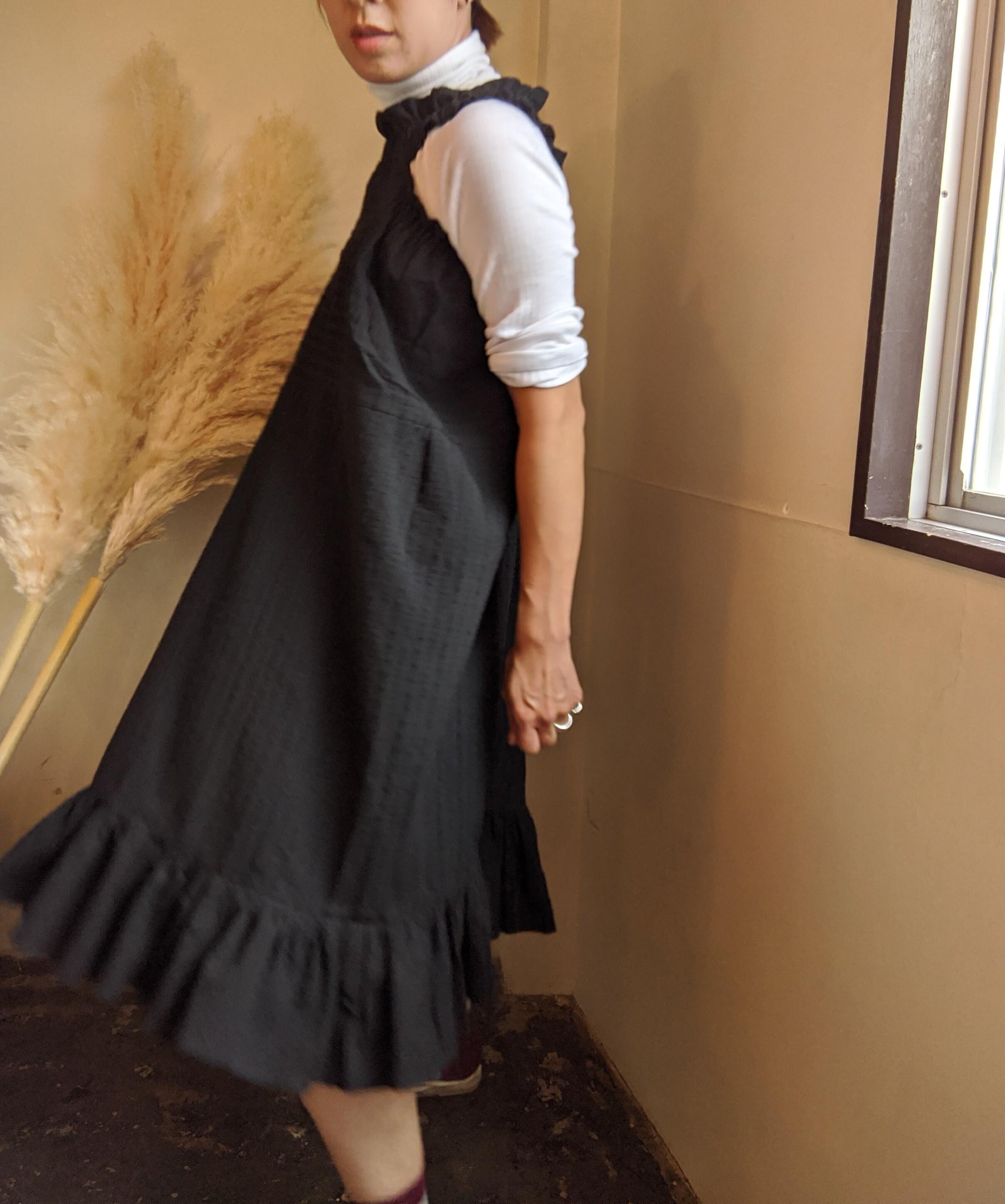 ☆再入荷!【 HOUGA 】ホウガ / windy skirt / black / フリルドレス / ロングスカート / 2way